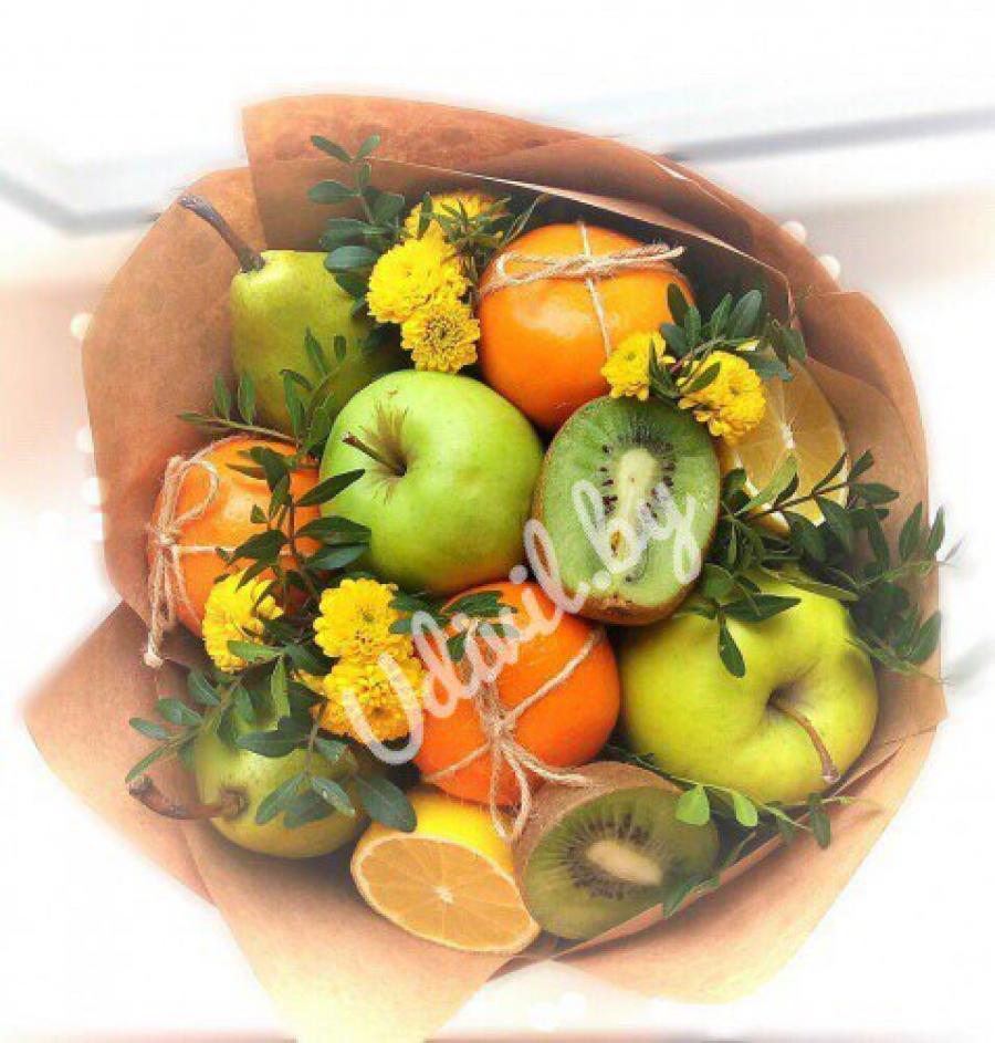 Букет из фруктов без проколов своими руками 93